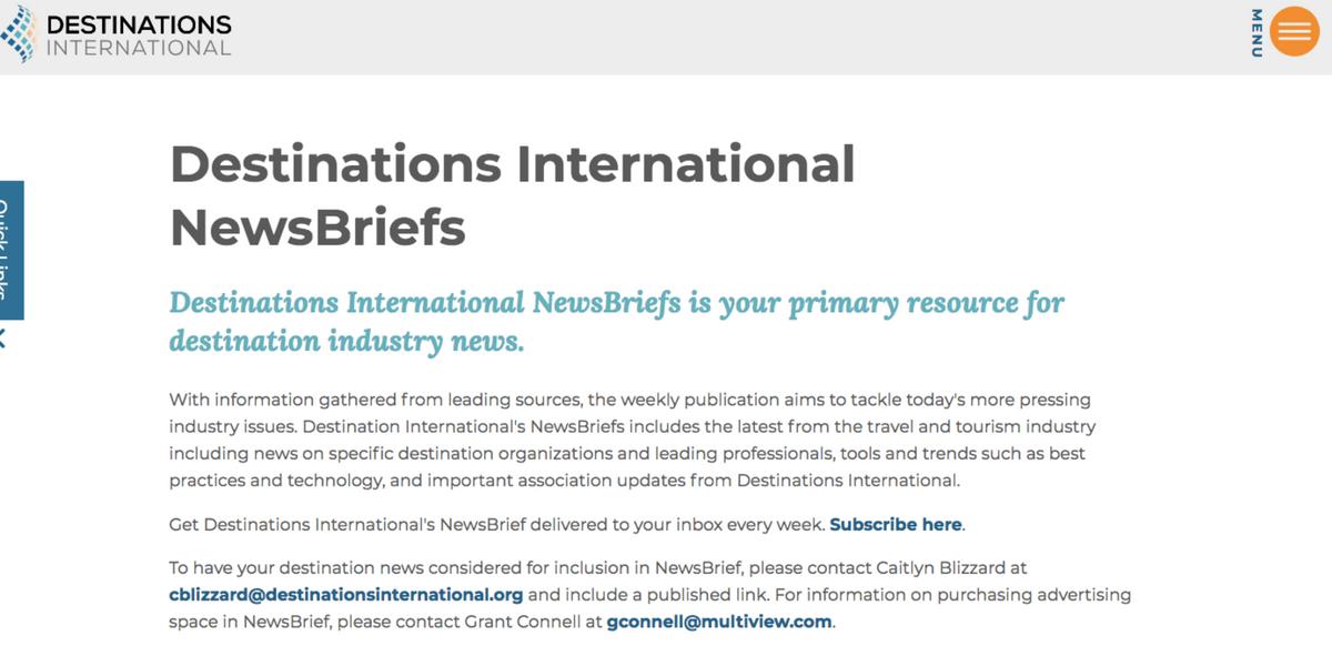 DESTINATIONS INTERNATIONAL NEWSBRIEF