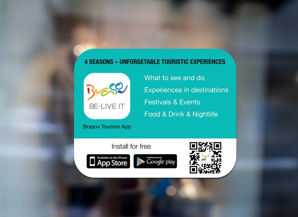 Sticker Brasov Tourism App pentru locații HORECA