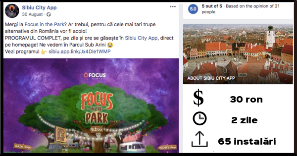 Bune practici: campanii de promovare online Sibiu City App